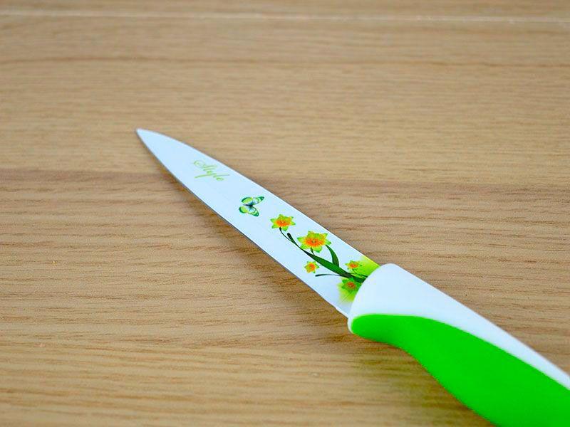 Cuchillo De Acero Inoxidable Con Capa De Cerámica Para Cortar Frutas Con Dibujo De Flores En La Hoja