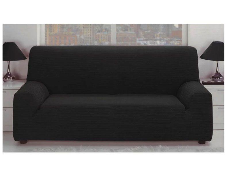 Fundas para sofá elástica jacquard con tejido rústico EN COLOR NEGRO ...
