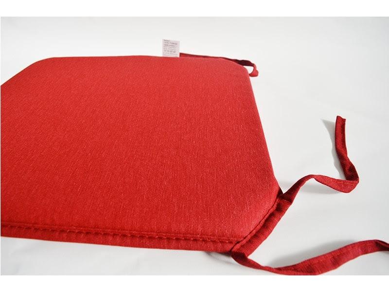 Coj n para silla color rojo extra loneta liso euros for Cojin para sillas