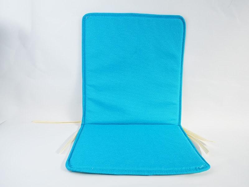 Cojín para silla con respaldo loneta lisa color turquesa