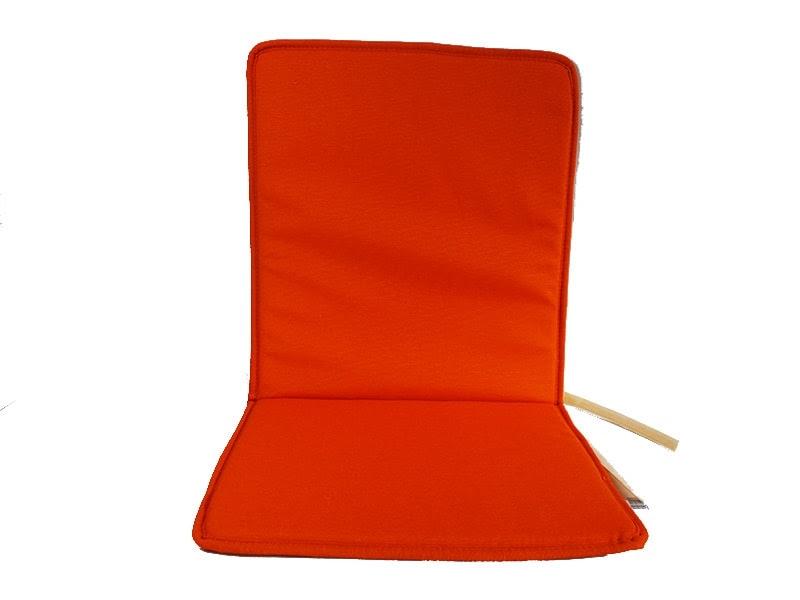 Cojín de silla con respaldo de loneta lisa color naranja