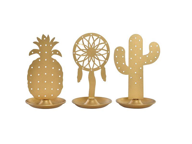 Anillero dorado de metal imantado tropical 3 modelos