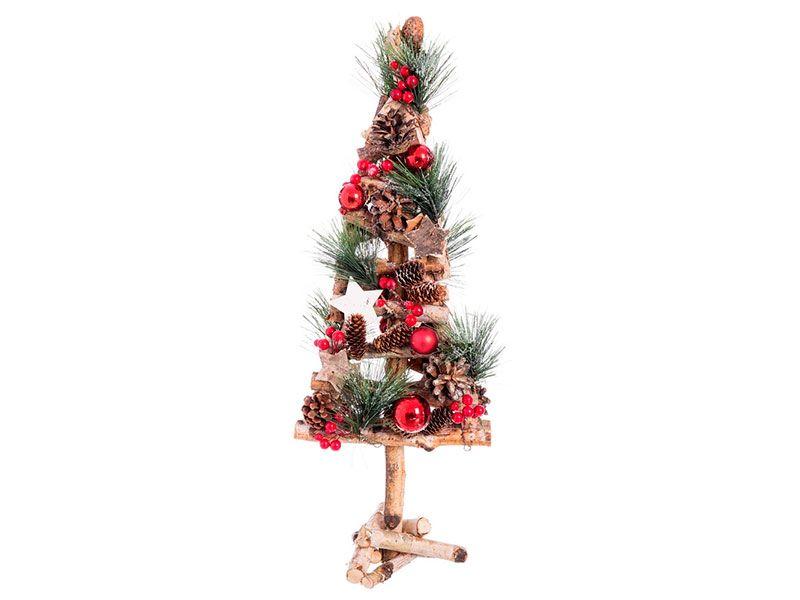 Árbol de Navidad rústico realizado artesanalmente en color rojo de ...
