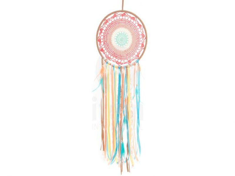 Atrapasueños rosa de algodón con cintas y plumas 32x110 Cm