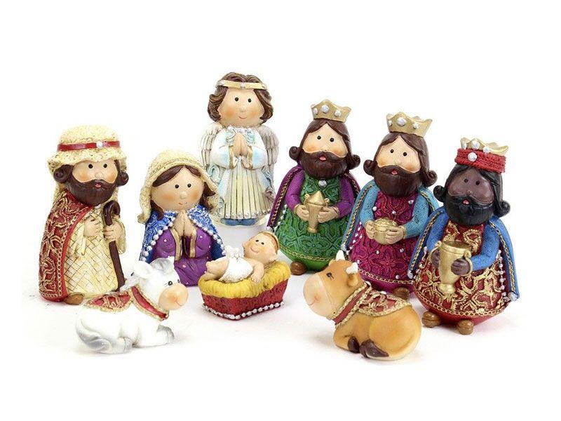 Pesebre de Navidad moderno multicolor con 9 figuras de resina para decoración navideña Christmas