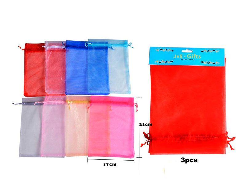 Bolsa de organza 17cm X 23 para regalos disponibles en 8 colores para bodas, bautizos o comuniones