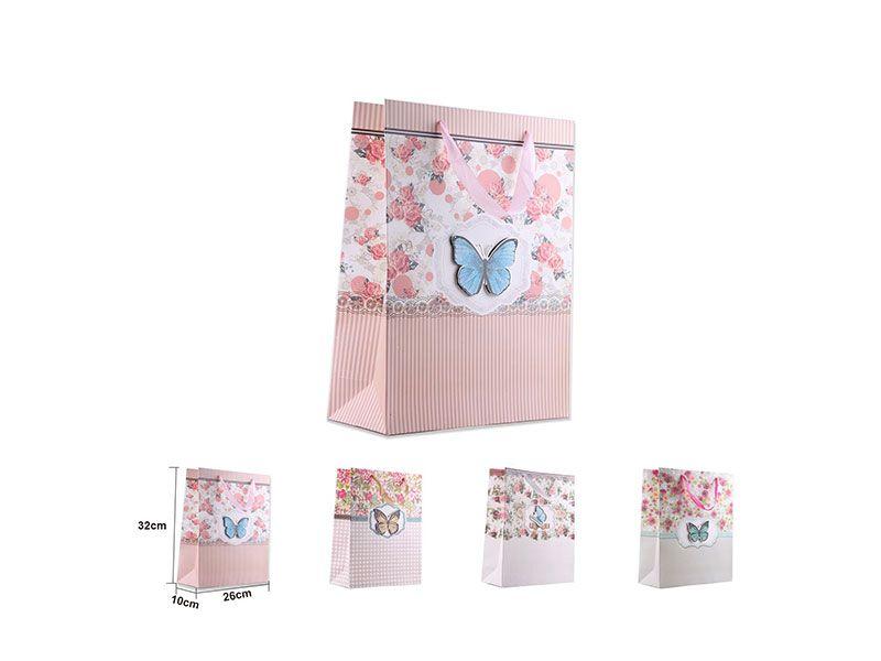 Bolsa para regalo rosa con decoración mariposas 32x26x10