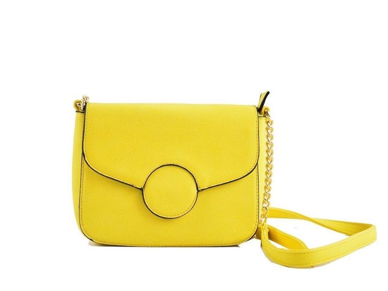 Bolso de Cuero Liso Amarillo