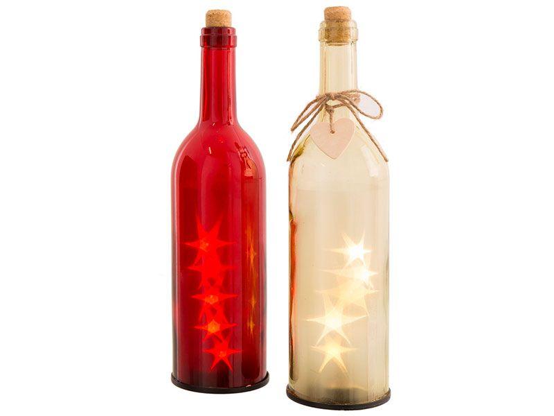 Botella con luz led cristal 2 colores  8 x 8 x 27,50 cm