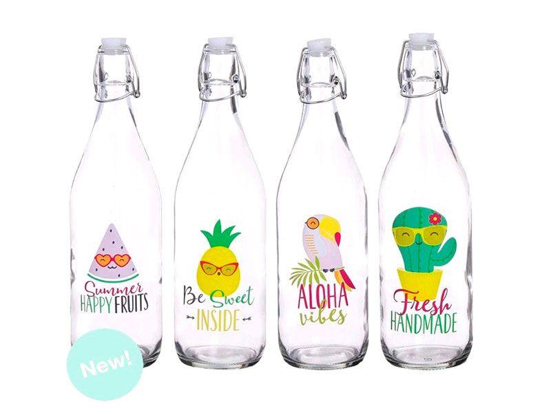 Botella de cristal agua summer fresh 4 modelos 1 Litro