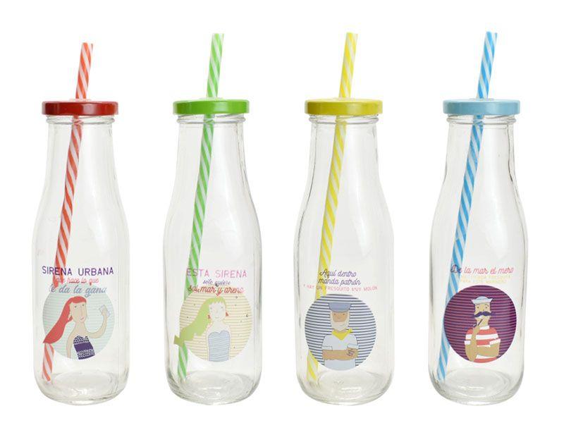Botellas de cristal con pajita - cañas y decoración marina