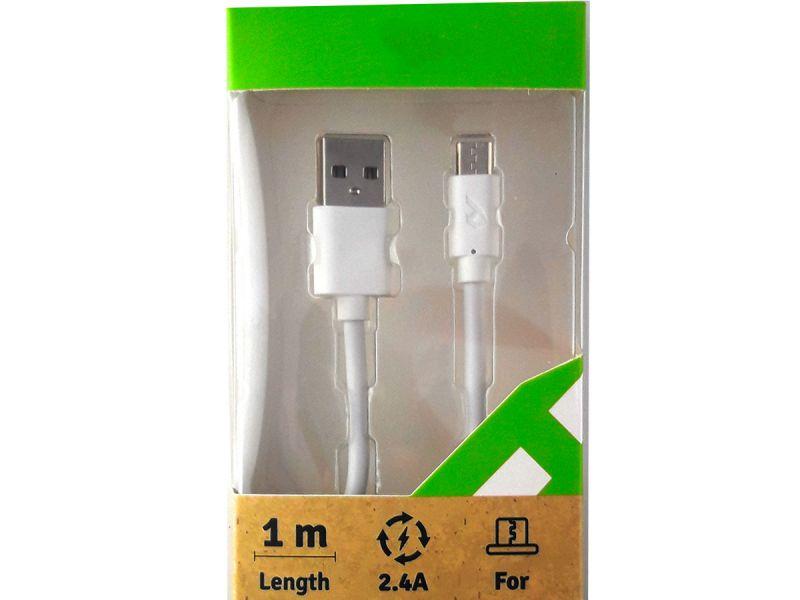 Cable UNIVERSAL  de conexión Micro USB para terminales androide color blanco