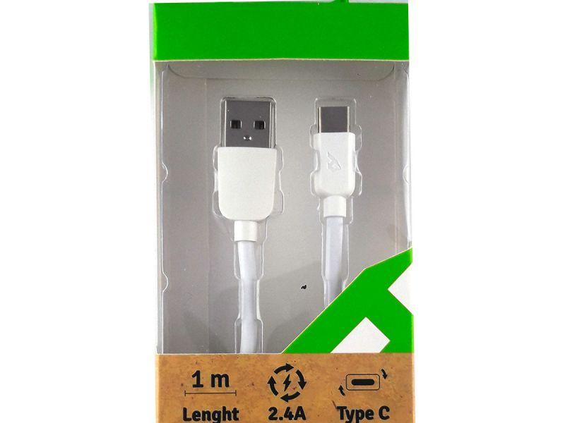 Cable cargador universal tipo C color blanco para la nueva generación de telefonía android de carga rápida  de 2.4 A de 1 metro de largo