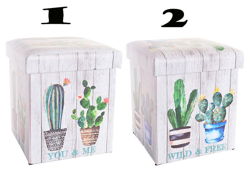 Caja taburete estilo puff almacenaje cactus 2 modelos