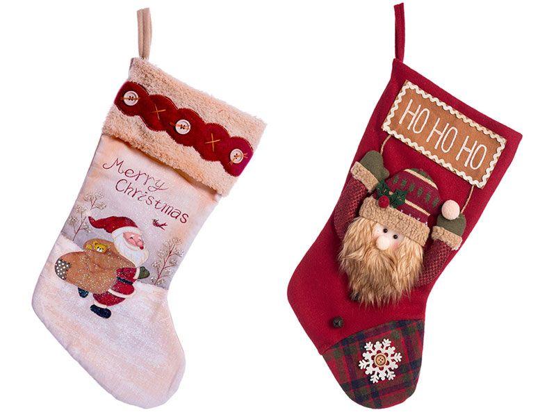 Calcetín para regalos papa noel o santa claus disponibles en dos colores