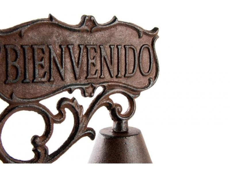Campana de hierro forjado bienvenido 17x10x20 Letras de hierro