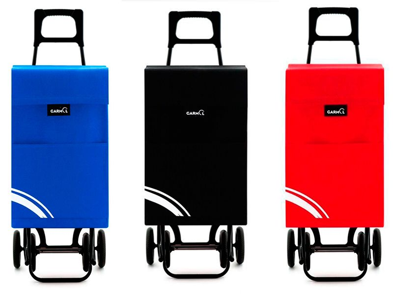 Carro para compra 4 ruedas plegable con raya en 3 colores disponibles