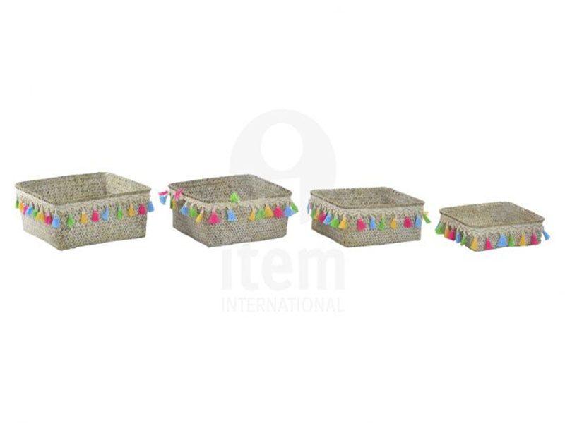 Set 4 cestas fibra 26x11x26 boho