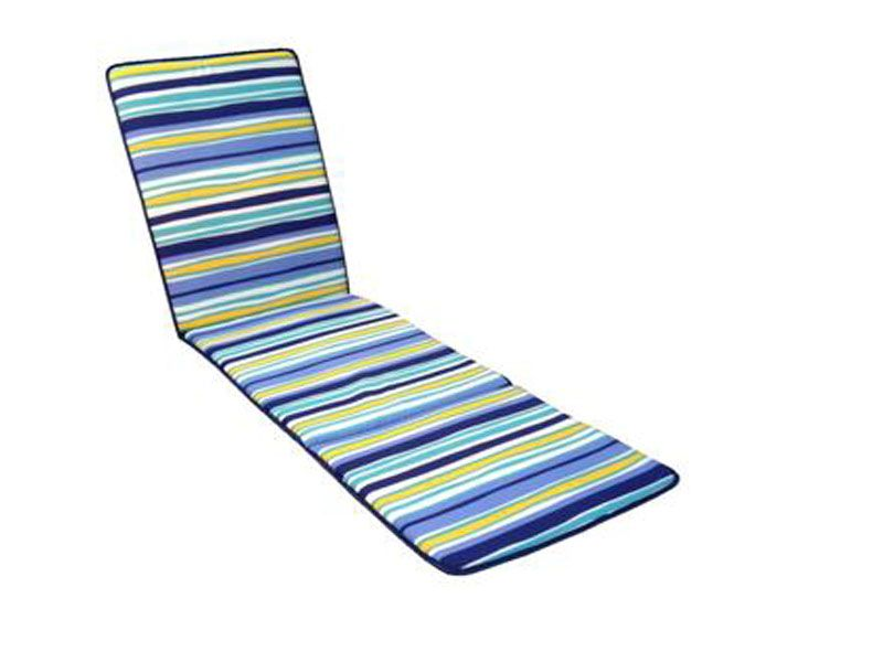 Cojín para tumbona Estampado a rayas multicolor azules 185x50x3 Cm