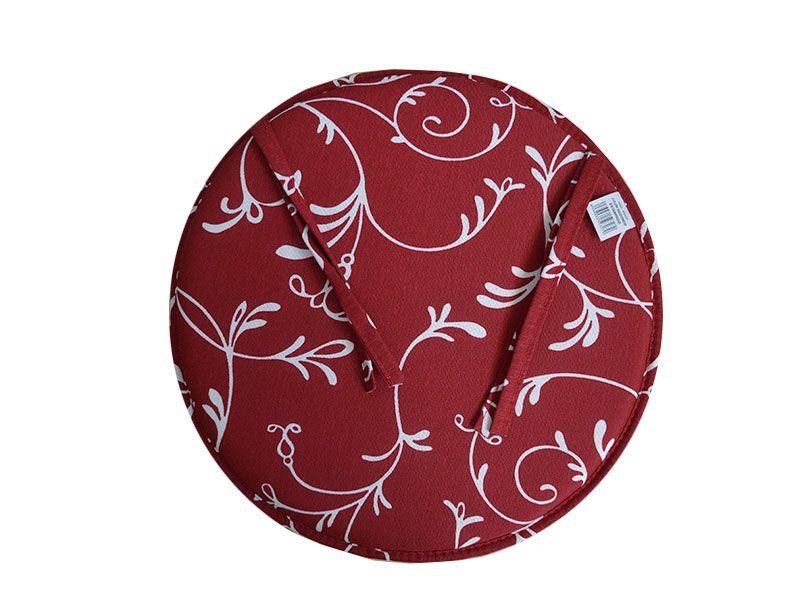 Coj n para silla redondo loneta liso color granate con estampado de flores - Cojines redondos para sillas ...