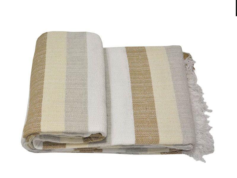 Colcha Multiuso 180×260 tejido rústico multicolor  rayas blancas beige marrón gris