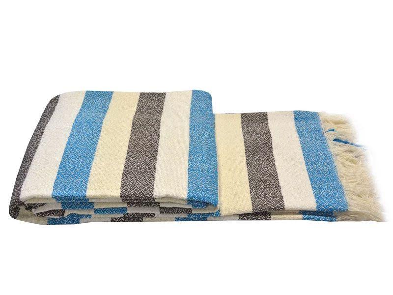 Colcha Multiuso 230×260 tejido rústico hilos color azul blanco negro beige