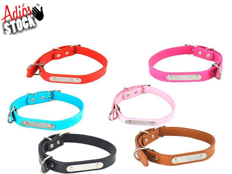Collar para perro Talla M 1.5 cm x 38 cm realizado en piel sintetico en 6 colores clásicos y lisos