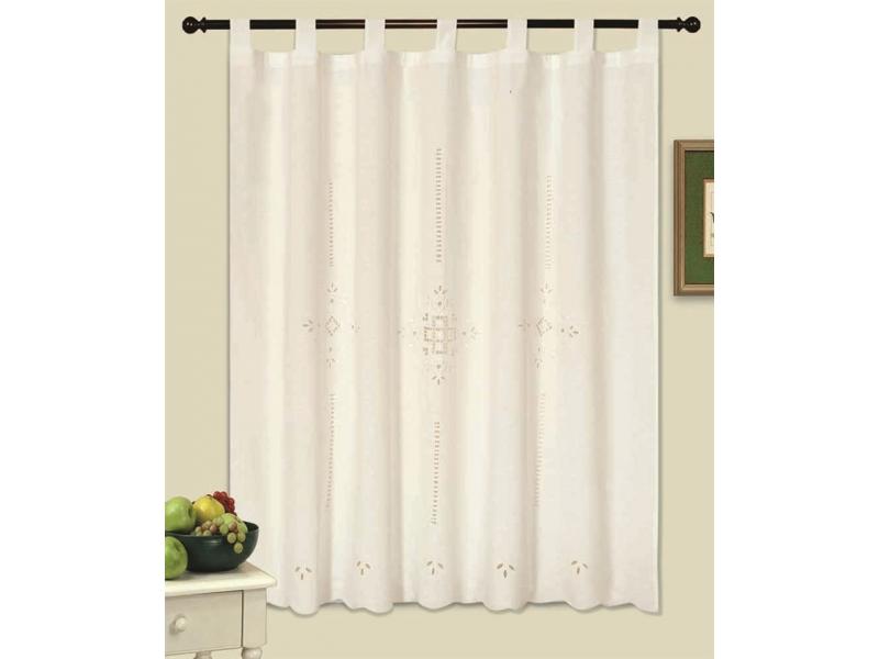 cortina de cocina bordada blanco flor