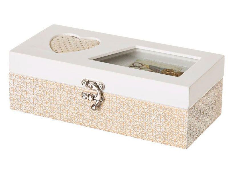 Costurero caja de madera blanco con cristal y corazón acolchado romántico para salón Vitta