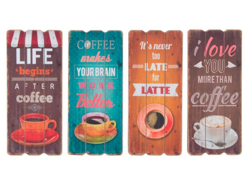 Cuadros de madera con grabados de tazas de café con texto en inglés