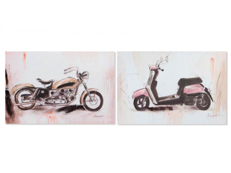 Cuadro lienzo madera  de moto vespa o harley