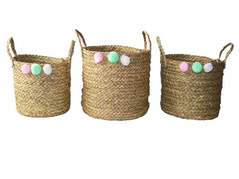 Set de 3 cestas redondas con pompones de colores y 3 tamaños