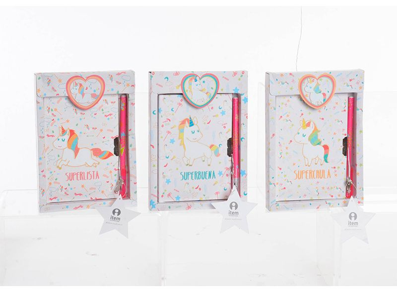 Diario de cartón unicornio brillante con bolígrafo 3 modelos