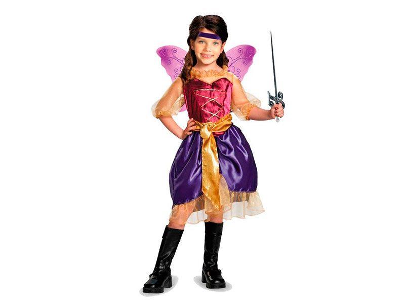 b278ab70e Vestido para disfraz de princesa rosa con flor en la cadera y mangas ...