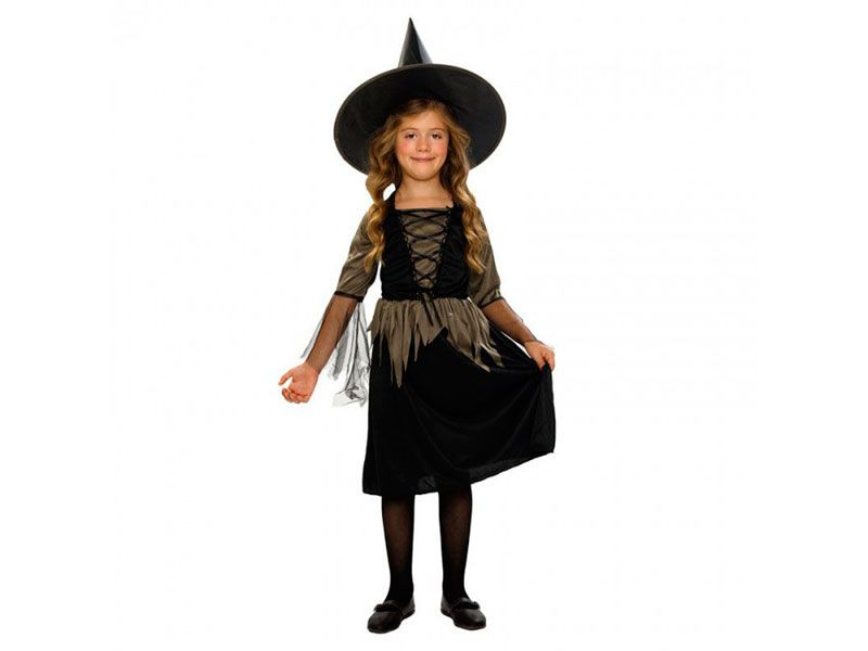 Disfraz de brujita magica para niñas de 3 a 4 años con gorro y traje negro  y dorado fb428bac43b