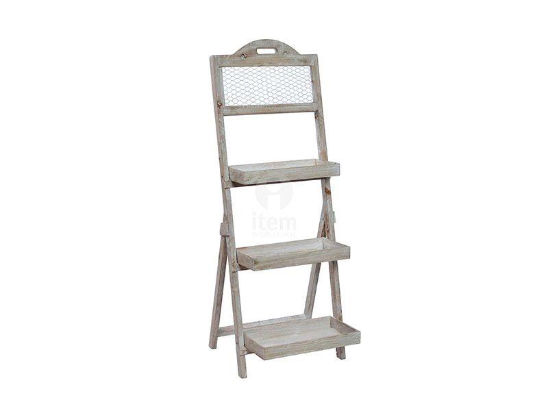 Estantería-escalera de madera con una altura de 110 cm 41.5 de largo  39 cm de fondo y 3 baldas