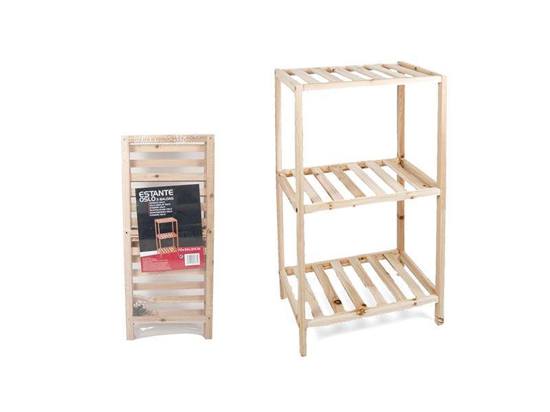 Estantería oslo 3 baldas madera natural 70x35x30 Centímetros