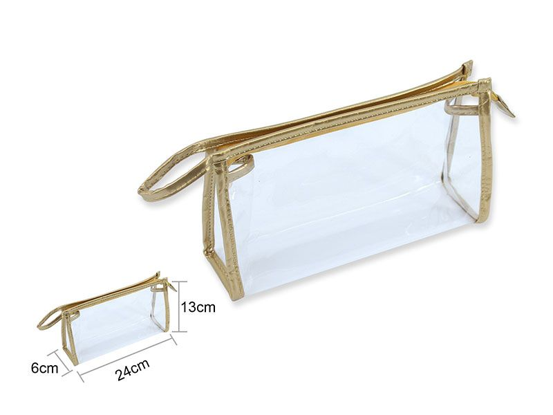 Neceser en forma de estuche transparente franjas doradas