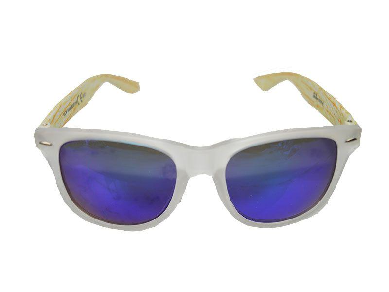 56e31530fa Gafas de sol woody lentes azules con patillas estilo madera blanca