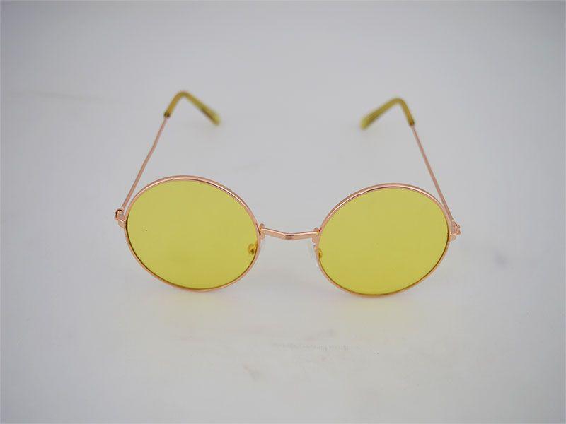 Gafas de sol redondas montura fina lentes amarillas