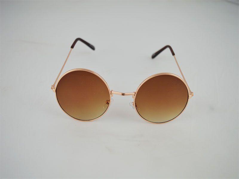 791483cbda3f8 Gafas de sol redondas con fina montura lentes marrones
