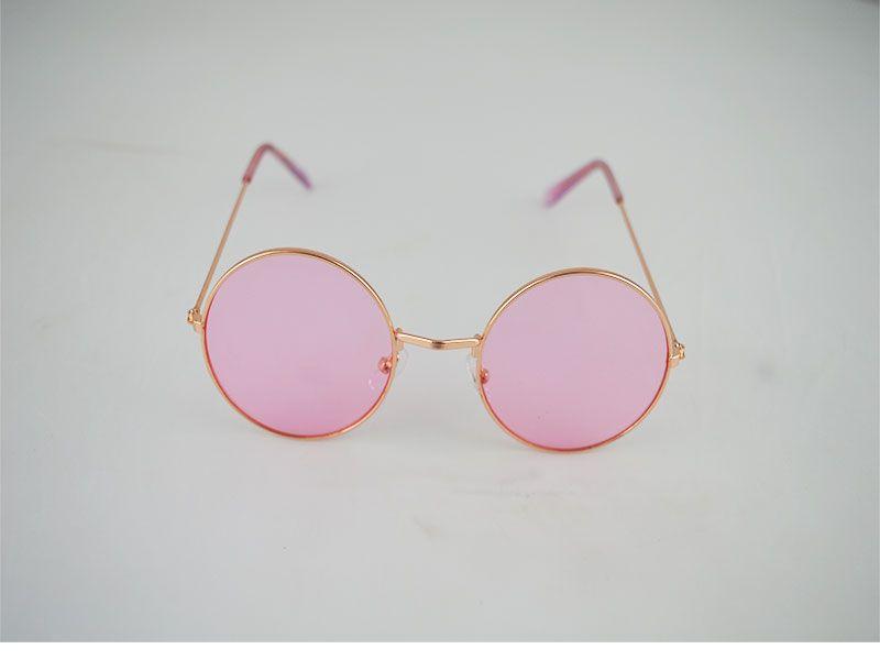 b6f3a8d6e4 Gafas de sol redondas con fina montura lentes rosas