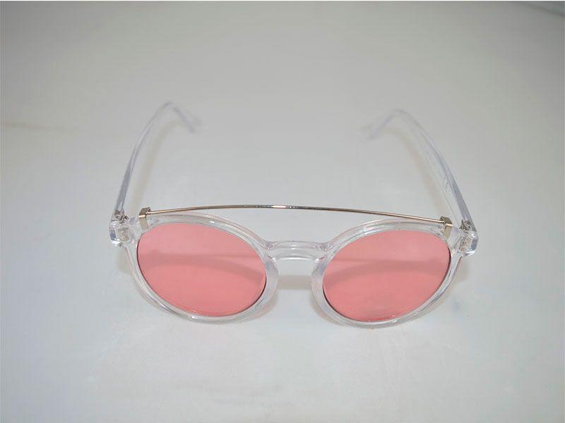 d3327b1801 Gafas de sol polarizadas redondas con montura transparente y lentes rosa