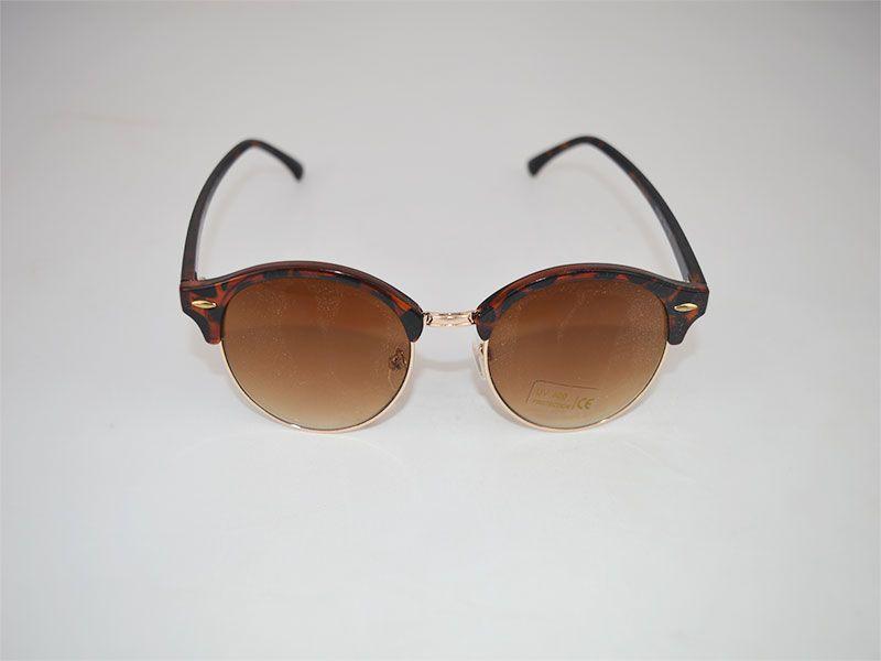 38fb846c09f6e Gafas de sol redondas con montura superior gruesa marrones con puntos