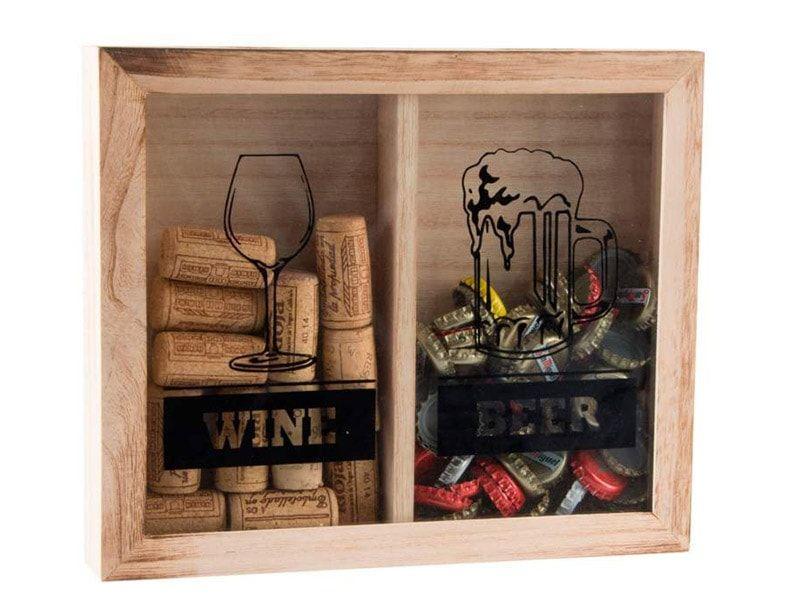 Económica!!!!! caja guarda corcho de madera y cristal doble por solo ...