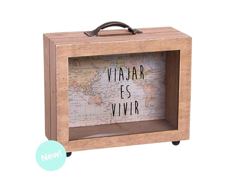 hucha travel world madera con forma de maleta