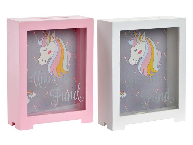 Hucha de madera y cristal unicornio blanca o rosa 16x7x19 cm