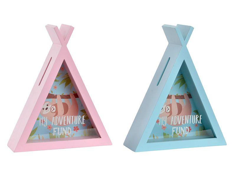 Hucha madera y cristal pirámide oso perezoso
