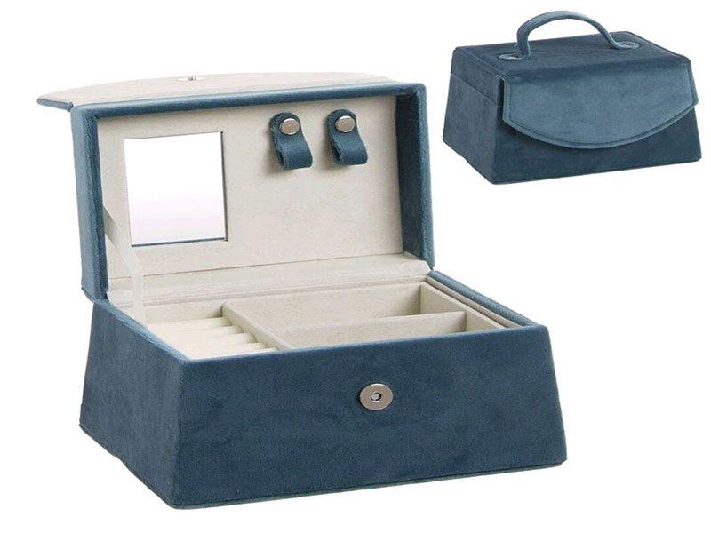 Joyero azul terciopelo con 2 niveles y espejo