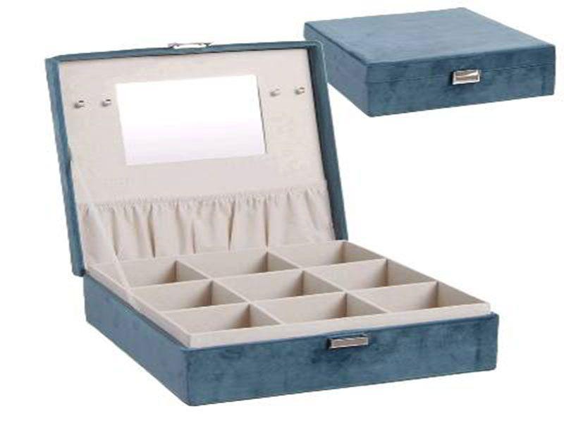 Joyero azul terciopelo con 9 departamentos y espejo